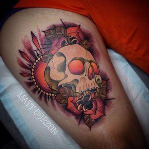 Neo Traditional Skull Tattoo by Matt Curzon #skull #skulltattoo #neotraditionalskull #neotraditionalskulltattoos #neotraditional #neotraditionaltattoo #neotraditionaltattoos #MattCurzon