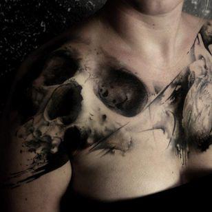 Skull tattoo by Florian Karg #Florian Karg #trashstyle #trashart #trash #trashpolka #realistic #dark #horror #graphic #skull