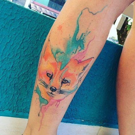 #ArthurOliveira #watercolor #aquarela #tatuadoresdobrasil #brasil #brazil #colorido #colorful #raposa #fox