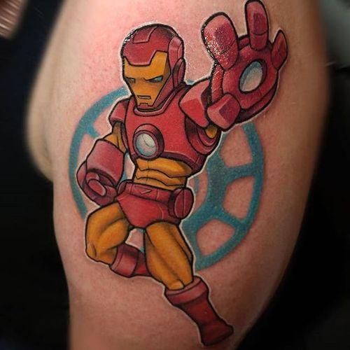 Iron Man Tattoo by Thom Bulman #ironman #ironmantattoo #newschool #popculture #popculturetattoos #newschoolpopculture #boldtattoos #popcultureartist #ThomBulman