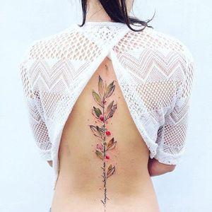Vegetal spine tattoo by Pis Saro #PisSaro #vegetal #watercolor #flower #plant