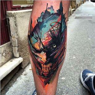 Joker tattoo by Szejn Szejnowski @szejno #Joker #Batman #graphic #jokertattoo #color #SzejnSzejnowski