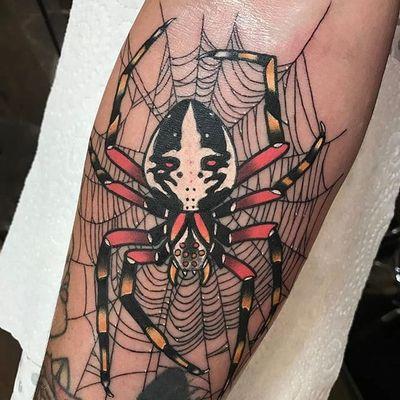 Spider and web gap filler by Drew Shallis #DrewShallis #color #spider #web #tattoooftheday