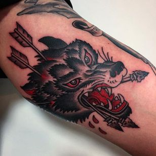 Survival wolf. (via IG - death_cloak) #Traditional #FrankieCaraccioli #wolf