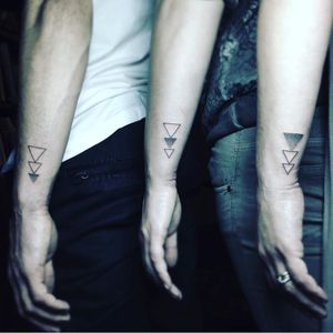 Triangle brothers. (via IG - kindalindatattoo) #Triangle #TriangleTattoos #TriangleTattoo #Geometry #Geometric