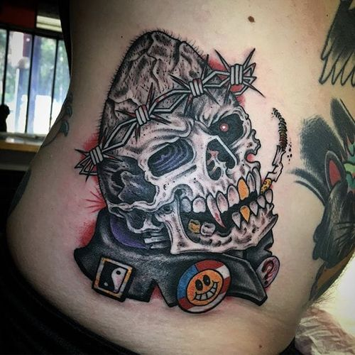 Traditional by Gordie Jones #GordieJones #traditional #american #skull #tattoooftheday