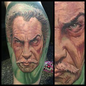 Vincent Price Tattoo by Daniel Jones #VincentPrice #VincentPriceTattoos #ActorTattoos #HollywoodTattoos #ClassicActor #DanielJones #hollywood #portrait #actorportrait