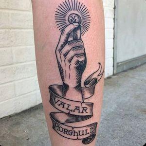 'Valar Morghulis' tattoo by Shaun Bushnell. #gameofthrones #GOT #tvshow #valarmorghulis #blackwork #hand