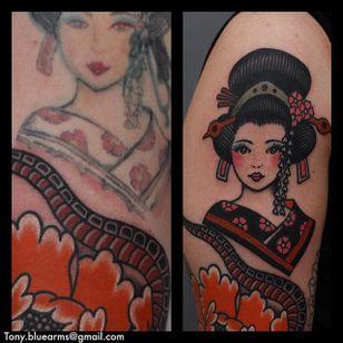 Geisha Tattoo by Tony Nilsson #Geisha #traditional #classictattoos #TonyNilsson