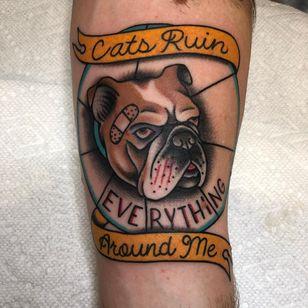 CREAM tattoo by Cori James #CoriJames #besttattoos #wutang #rap #cats #musictattoo #cream #dog #bulldog #bandaid #banner #text #quote #newtraditional #blood #catscratch #petportrait #tattoooftheday