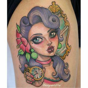 Pretty pin-up tattoo by Dani Green #DaniGreen #newschool #pinupgirl