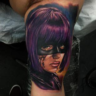 Hit Girl looking vengeful by Audie Fulfer Jr. (Via IG - audie_tattoos) #AudieFulfer #realism #HitGirl #KickAss