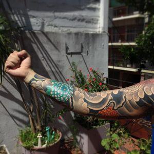Japanese sleeve by Luciano Vazquez. #LucianoVazquez #JapaneseStyle #irezumi #japanesetattoo