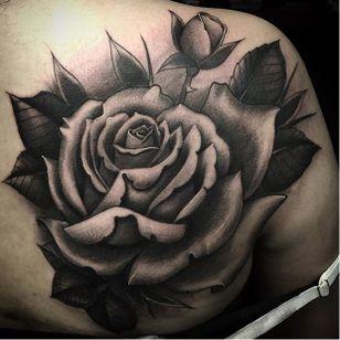 Rose via @juan_teyer #JuanTeyer #blackandgrey #rose #flowertattoo