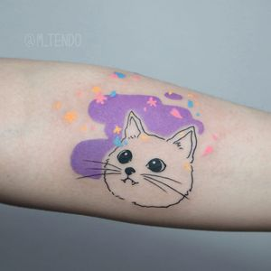 Sweet kitty tattoo by M Tendo #MTendo #animaltattoos #color #watercolor #linework #illustrative #cat #kitty #cute #petportrait #stars #hearts