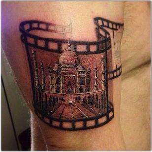 Taj Mahal tattoo by Mattias Österberg #MattiasÖsterberg #film roll #tajmahal