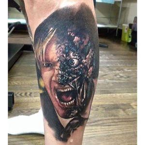 Two Face Tattoo by Trevor Jameus #TwoFace #Batman #DCComics #TrevorJameus