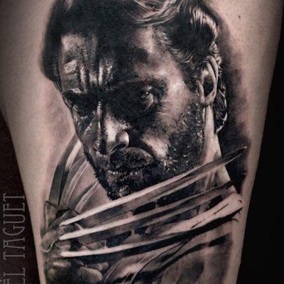 A black and grey portrait of Hugh Jackman as Wolverine by Michael Taguet (IG—michaeltaguet). #Logan #MichaelTaguet #Wolverine #XMen
