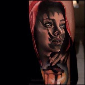 Little Red Riding Hood tattoo #realistictattoo #KristianKimonides #littleredridinghoodtattoos