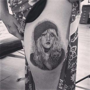 Stevie Nicks portrait tattoo by Rocky Burley. #realism #portrait #blackandgrey #StevieNicks #RockyBurley