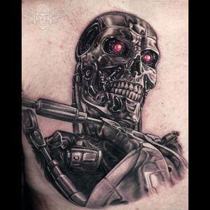 Black and grey T-800 by Javier Antunez. #blackandgrey #realism #Terminator #T800 #JavierAntunez