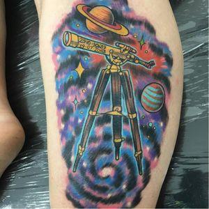 Space adventurer (via IG - lindybtattoo) #telescope #TelescopeTattoo #TelescopeTattoos #Science