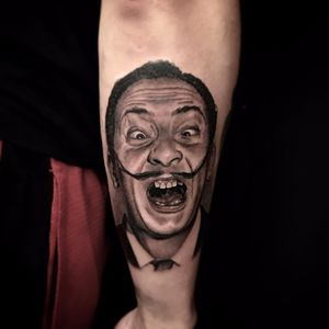 Wackadoodle Dali by Rocky Burley #RockyBurley #Dali #SalvadorDali #portrait #realism #realistic #blackandgrey #artist #tattoooftheday