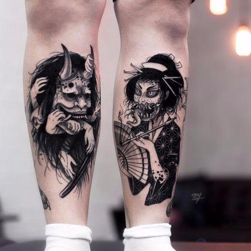 Yokai by Ooqza #ooqza #blackwork #blackandgrey #newtraditional #neotraditional #anime #hands #yokai #hannya #geisha #demon #monster #fan #opiumpipe #pattern #kimono #hair #horns #tattoooftheday