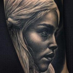 Khaleesi tattoo by Jumilla Olivares #JumillaOlivares #blackandgrey #realistic #portrait #dark #khaleesi #gameofthrones