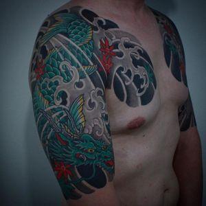 Dragon Tattoo by Gotch #japanese #japanesetattoo #japanesetattoos #bestjapanesetattoos #classicjapanese #dragon #japanesedragon #japaneseartists #Gotch #GotchTattoos
