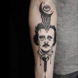 Edgar Allan Poe tattoo by Kim Tran #KimTran #illustrative #graphic #blackwork #portrait #surrealistic #edgarallanpoe