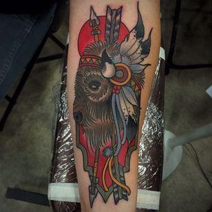 Buffalo Tattoo by Abel Sanchez #Buffalo #BuffaloTattoo #Bison #AmericanTraditional #Traditional #AbelSanchez