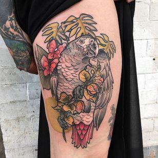 Parrot Tattoo by Magda Hanke #parrot #bird #neotraditionalparrot #parrottattoo #neotraditional #neotraditionaltattoo #neotraditionaltattoos #neotraditionalartist #MagdaHanke