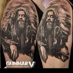 Rob Zombie tattoo by Gunnar V #robzombie #GunnarV #metal #musician #horrormovies #realistic #portrait #blackandgrey