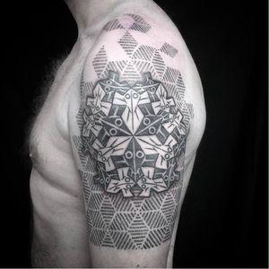 M.C. Escher inspired tattoo by Jason Corbett #JasonCorbett #escher #geometric #art #dotwork