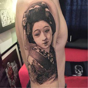 Geisha tattoo by Elvin Yong #ElvinYong #asian #contemporary #realistic #blackandgrey #geisha #portrait