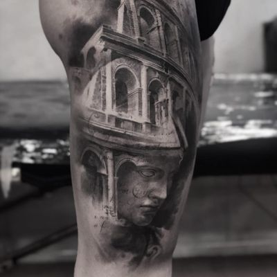 Old world tattoo by Cold Gray #ColdGray #blackandgrey #realism #realistic #hyperrealism #sculpture #architecture #statue #stonework #portrait #building #script