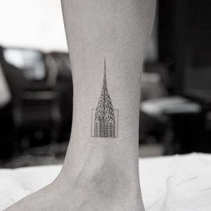 Chrysler Building tattoo by Mr K #MrK #newyorktattoo #ChryslerBuilding #architecture #small #building #artdeco