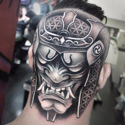Warrior within by Khail Aitken #KhailAitken #khailtattooer #blackandgrey #blackwork #Japanese #samurai #warrior #realistic #tattoooftheday