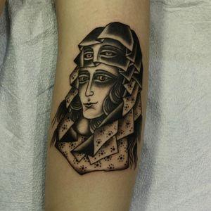 Creepy lady head tattoo by Franco Maldonado #FrancoMaldonado #ladyheadtattoo #lady #surreal #creepy #darkart #blackwork #pattern #dotwork #foureyes #face #tattoooftheday