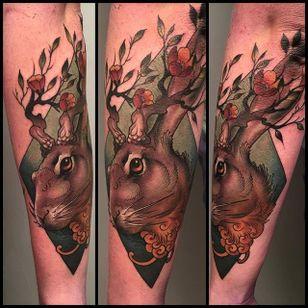 Jackalope tattoo by Cory Bernhardt. #jackalope #fable #imaginary #animal #antler #rabbit #neotraditonal #CoryBernhardt