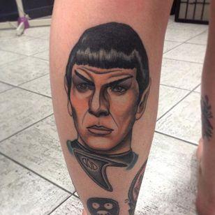 Spock tattoo by Dylan J West. #spock #leonardnimoy #startrek #scifi #portrait