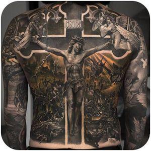 Religious back piece by Niki Norberg. (Instagram: @niki23gtr) #largescale #blackandgrey #religious #backpiece #NikiNorberg