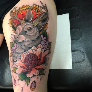 Jackelope Tattoo by Daryl Watson #jackelope #neotraditional #neotraditionalartist #contemporary #stylish #bold #DarylWatson