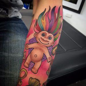 Troll Doll tattoo by Carly Baggins. #troll #doll #trolldoll #toy #CarlyBaggins #90s #90stattoo