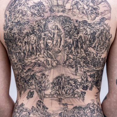 The Last Judgment by Michelangelo tattoo by Oozy #Oozy #favoritettattoo #linework #thelastjudgment #etching #woodblock @fineline #angel #epic #backpiece #clouds #religious #Michelangelo
