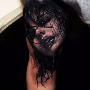 Dripping wet. (via IG - riccardo_cassese_tattoo) #BlackAndGrey #Portrait #Portraiture #RiccardoCassese