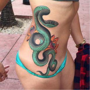 Beautiful Snake & Lotus Tattoo made by Ami James. #snake #lotus #japanese #amijames