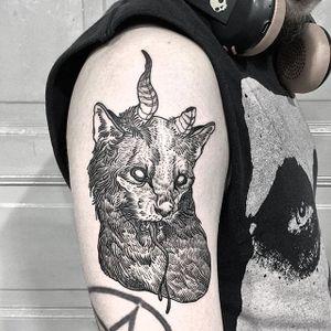 Devil Cat by Vanpriegonova (via IG-vanpriegonova) #cat #cattoo #pets #petportrait #traditional #realism #surrealism #blackink