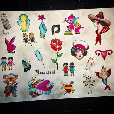 Greg Rosenfeld's flash sheet for Saturday (IG-gregthehypeman) #plannedparenthood #charityfundraiser #Flash #feminism #GregRosenfeld #redrockettattoo #traditional #adorable #kawaiitattoo #traditionaltattoo